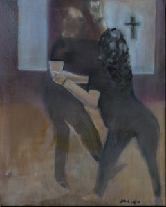 """Connection: West Coast Swing at Grace Church, Hip Circle 16x20"""", Oil on Canvas (Jodee Clifford / 2017)"""