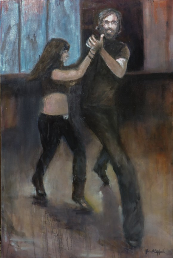 "Connection: John shuffling at Prospectors, 2017 24x36"", Oil on Canvas (Jodee Clifford / 2017)"