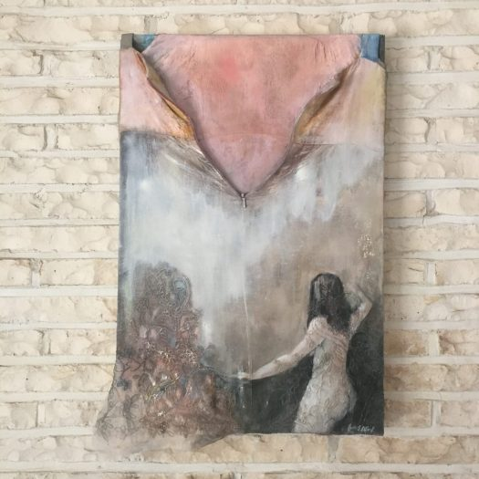 Unzipped Linen Dress, 2018 oil / mixed media 16x24""