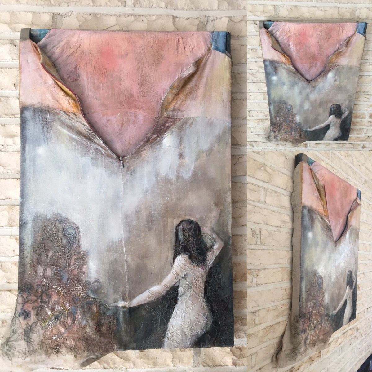 "Unzipped Linen Dress, 2018 oil / mixed media 16x24"" jodee clifford"