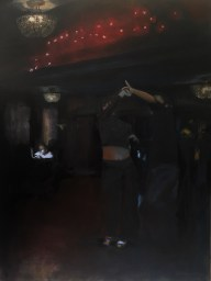 "Spinning, West Coast Swing Dancers; 36x48"" oil/canvas by Jodee Clifford completed in 2018. A couple dancing with dj's face illuminated in the background"