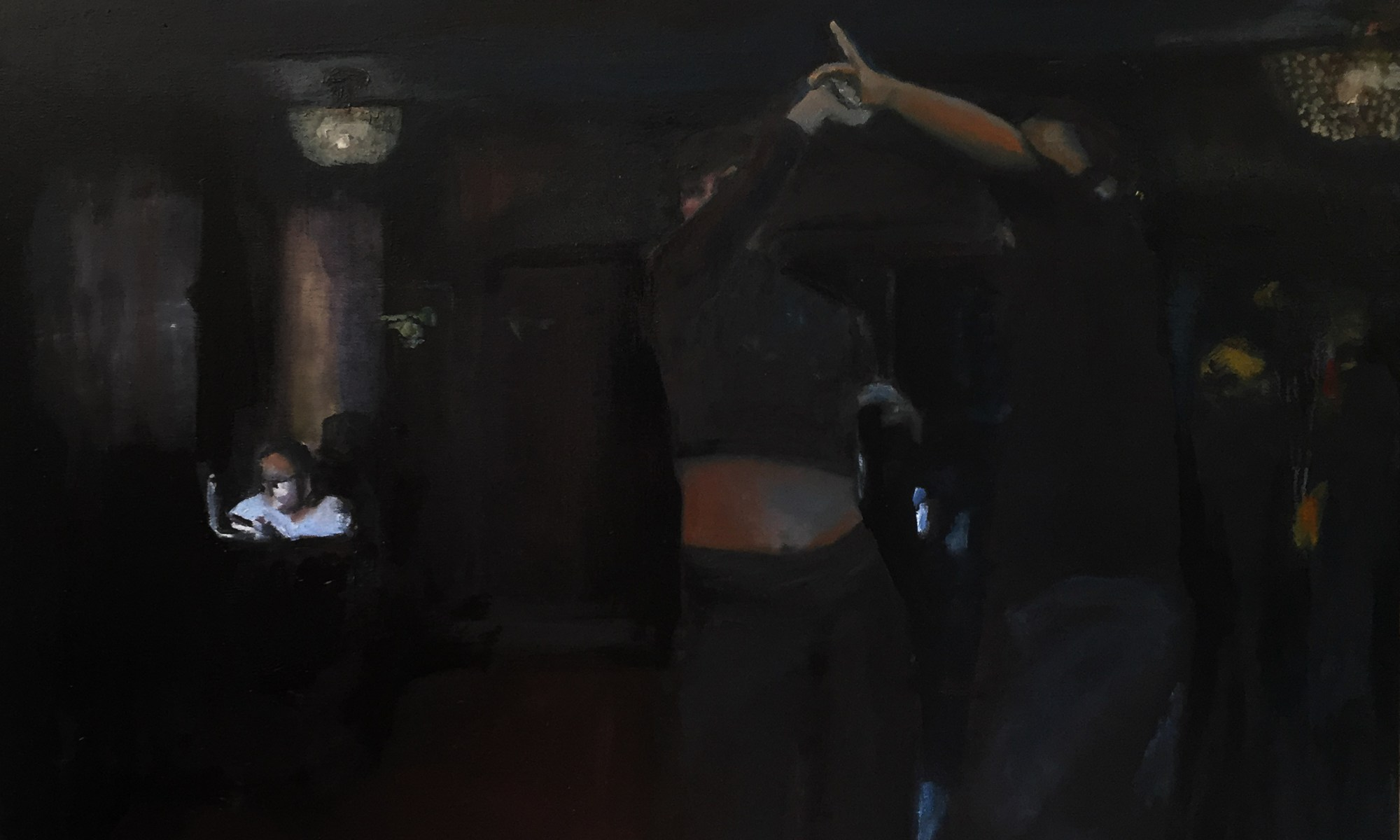"""Spinning, West Coast Swing Dancers; 36x48"""" oil/canvas. Jodee Clifford. 2018"""