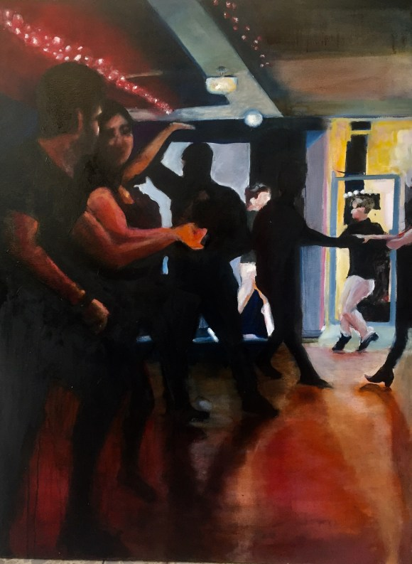"Torque. Connection: West coast swing dancers. 30x40"" oil / canvas Aug. 2018, @jodeeclifford"