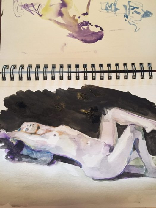Figure study in ink and watercolor