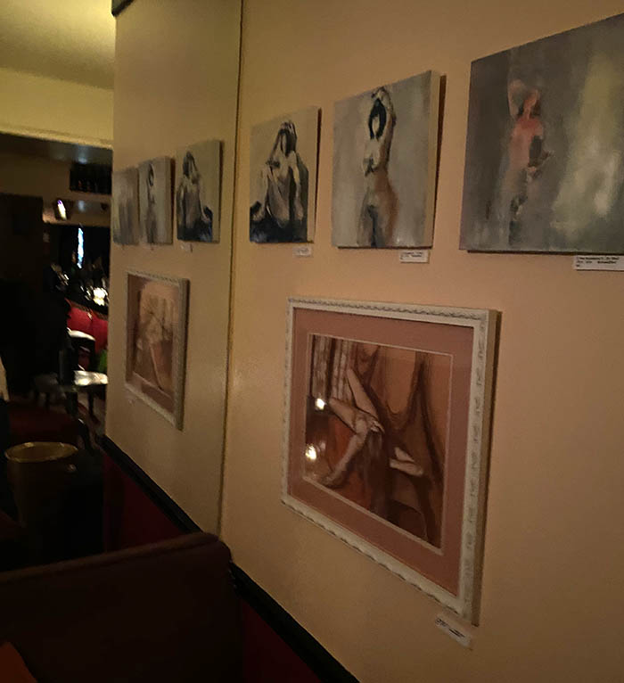 get nudes + drink champagne, a popup art show with figurative works by Jodee Clifford