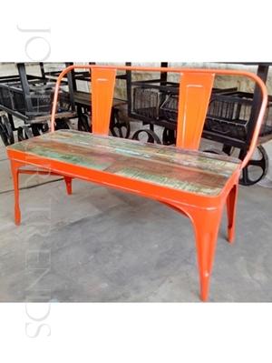 Tolix Bench in Orange | Fancy Restaurant Benches