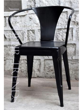 Designer Outdoor Bistro Chair | Black Metal Restaurant Chairs