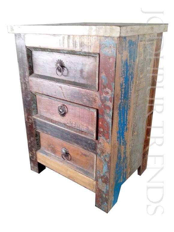 Vintage Bedside Table in Mix Old Wood | Antique Vintage Furniture