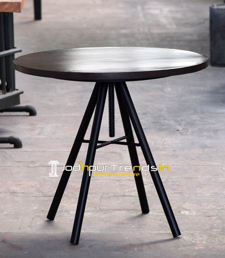 Iron Wooden Table, Industrial Iron Table, Round Wood Table , Industrial Furniture Shop