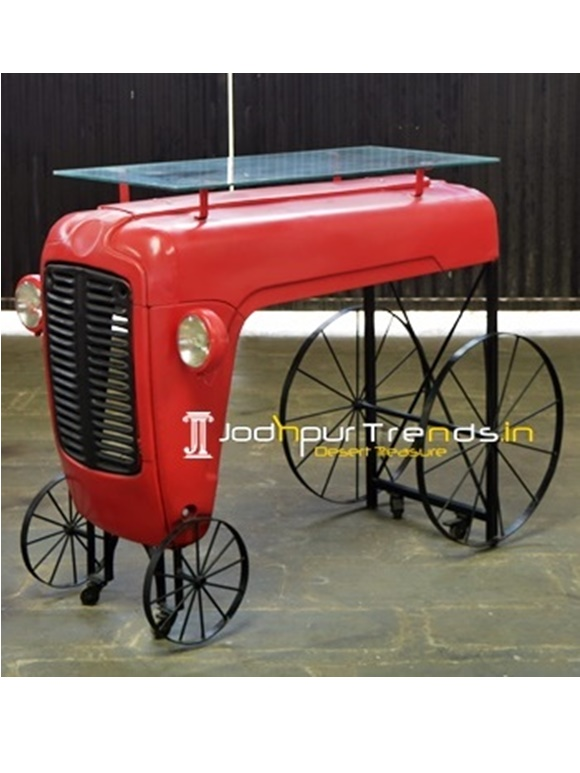 Tractor Wheel Outdoor Glass Bar Table