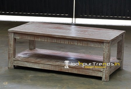 Solid Wood Distress Finish Center Table Furniture