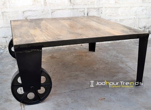 Industrial Interior Cast Wheel Coffee Table Furniture