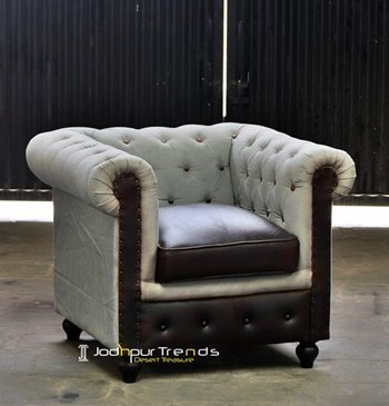 Canvas Leather Tufted Indian Sofa Design
