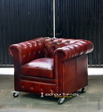Modern Chesterfield Leather Single Seater Sofa