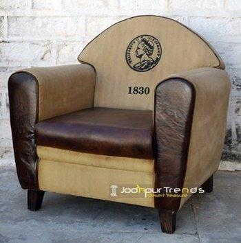Printed Canvas Leather Single Seater Sofa