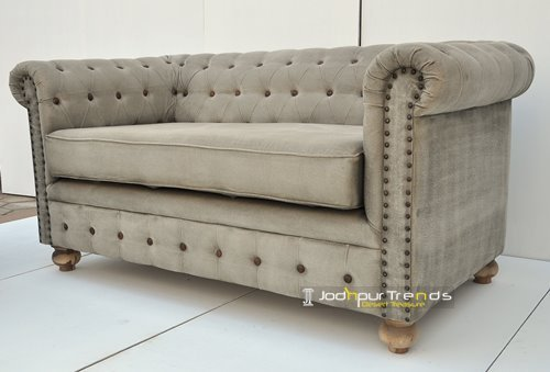 Canvas Chesterfiled Wooden Frame Handcrafted Sofa