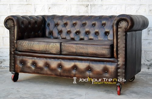 Two Seater Chesterfield wheel Design Sofa