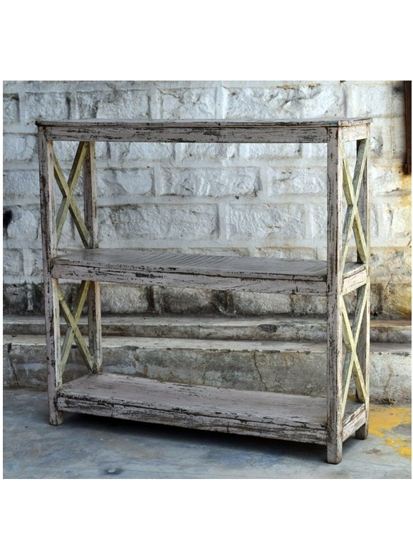 Old White Distress Open Display Rack Furniture