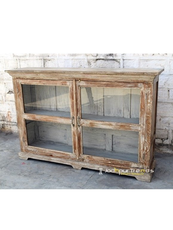 White Distress Indian Old Wood Cabinet