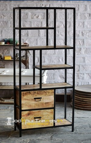 Mango Wood Metal Storage Display Unit Furniture