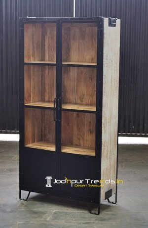Distress Natural Wood Glass Store Display Unit