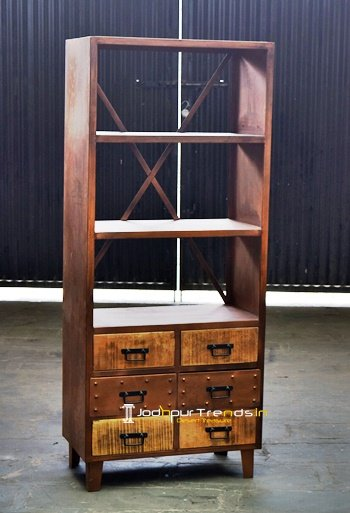 Rustic Metal Finish Wood Storage Display for Contract
