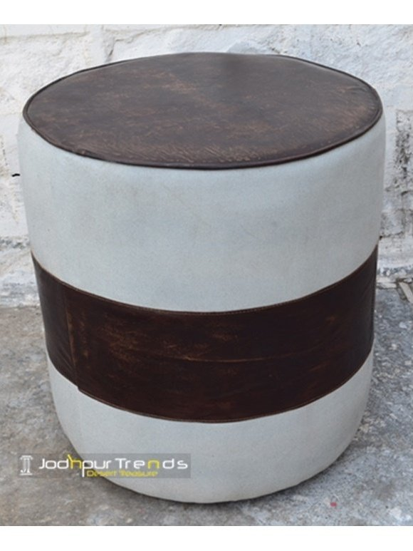 Handcrafted Jodhpur Round Pouf Ottoman Furniture