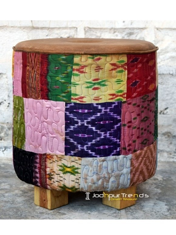 Traditional Rajasthani Jaipuri Fabric Pouf in Wholesale