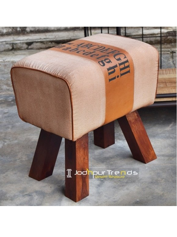 Leather Canvas Upholstered Wooden Base Pouf