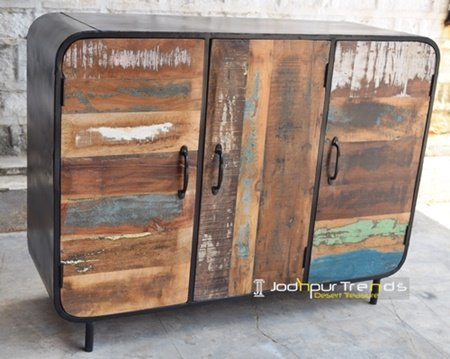 Jodhpur Handcrafted Metal Solid Wood Cabinet