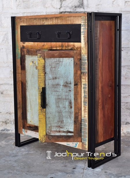 Reclaimed Metal Wood Cabinet Furniture
