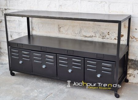 Black Metal Steel Handcrafted Console Furniture