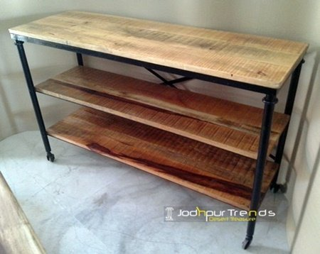 Mango Aara Finish Industrial Console Table Furniture