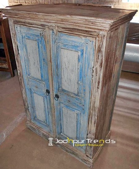 Old Door White Distress Design Cabinet Furniture