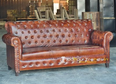 Leather Wooden Evergreen Brown Leather Sofa