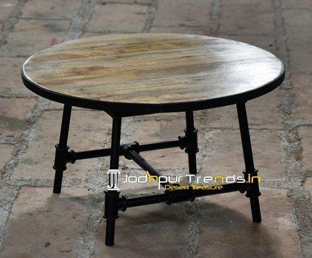 Round Top Cast Iron Wheel Design Center Table Furniture