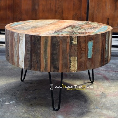 Reclaimed Round Table Iron Base Center Furniture Design