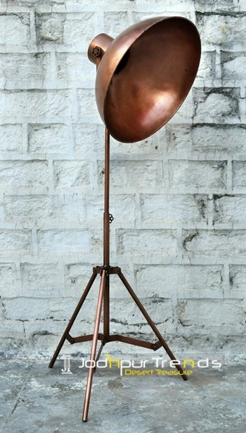 Metal Sheet Copper Finish Floor Restaurant Lamp