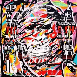 CITIES OF MONKEYS by Jo Di Bona 2015 80x80 technique mixte sur toile