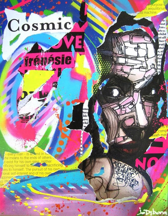 COSMIC FRENESIE by Jo Di Bona 2014 54x60 technique mixte sur toile