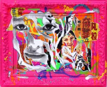 FLUO PINK CHINA by Jo Di Bona 2015 120x80 technique mixte sur toile [1600x1200]