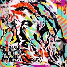 GAINSBOURG SE BARRE by Jo Di Bona 2015 80x80 technique mixte sur toile