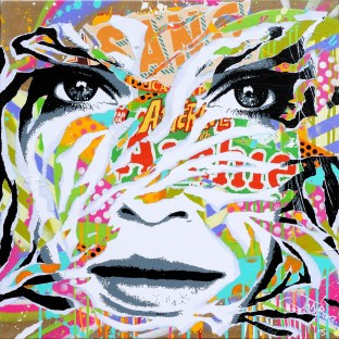 GOLDEN GIRL by Jo Di Bona 2015 70x70 technique mixte sur toile