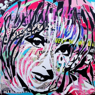 LIZ IS SO POP! by Jo Di Bona 2015 100x100 technique mixte sur toile