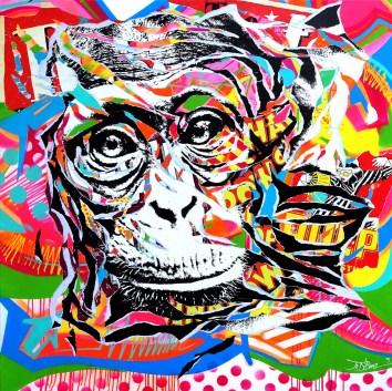 ME AND MY MONKEY by Jo Di Bona 2015 140x140 technique mixte sur toile