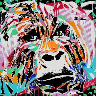 MY SWEET GORILLA by Jo Di Bona 2015 100x100 technique mixte sur toile