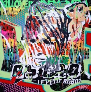 MYLENE S'EN FOUT by Jo Di Bona 2014 100x100 technique mixte sur toile