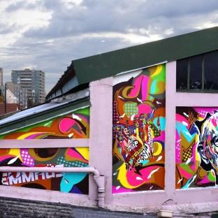 Mur réalisé sur les toits d'EMMAÜS, Neuilly-sur-Marne