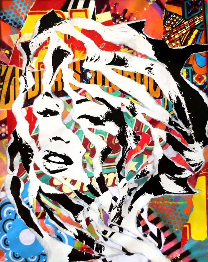 PULP MARILYN by Jo Di Bona 2015 50x70 technique mixte sur papier