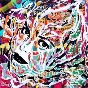 STRAWBERRY FIELDS by Jo Di Bona 2015 100x100 technique mixte sur toile